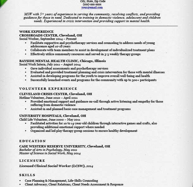 Exciting Work Resumes 12 Social Work Resume Sample Writing Guide ...