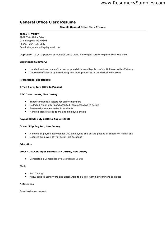 Clerical Work Resume - formats.csat.co