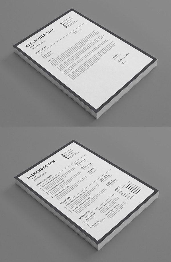 New Simple, Clean CV / Resume Templates | Design | Graphic Design ...