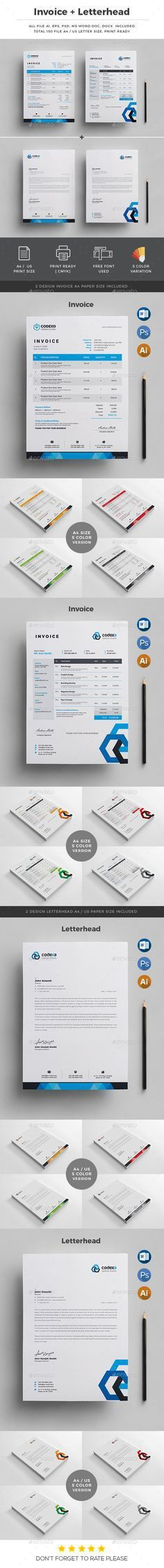 Invoice with Letterhead | Stationery, Proposals and Letterhead