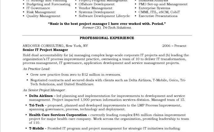 senior it project program manager Project Manager Resume Objective ...