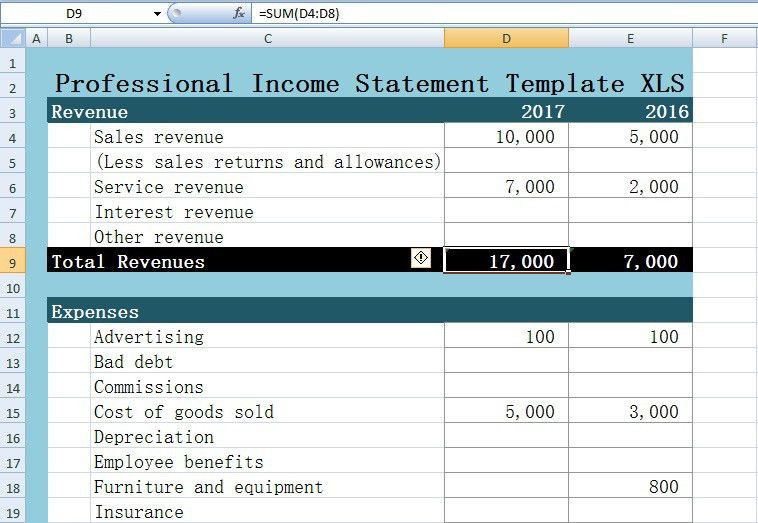 Professional Income Statement Template Excel XLS - Excel XLS Templates