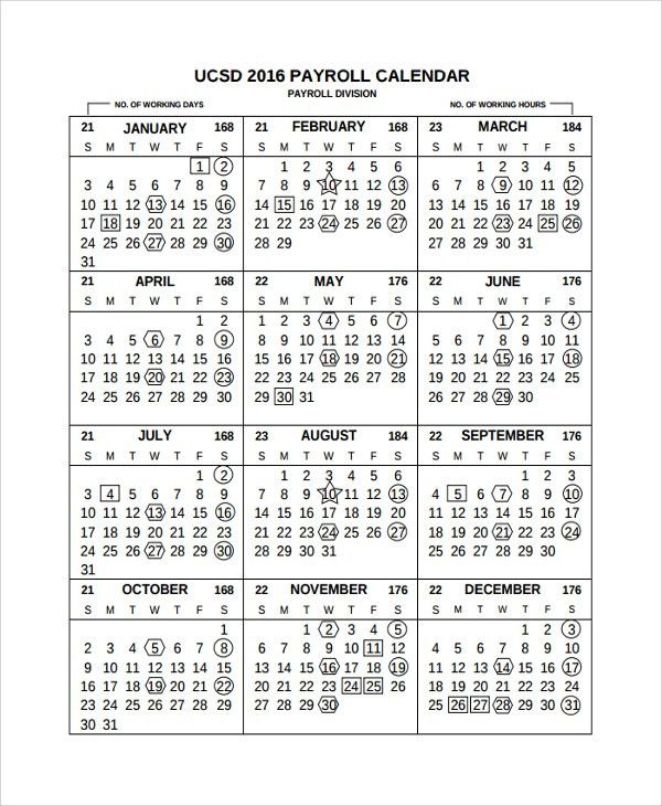 Sample Payroll Calendar Template - 9+ Free Documents Download in ...