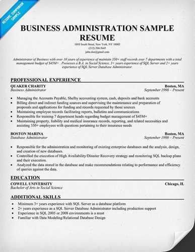 "Sample Business Administration <a href=""http://resume.tcdhalls.com ..."
