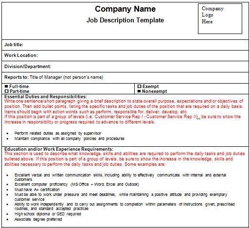 19+ Free Job Description Templates in Word Excel PDF