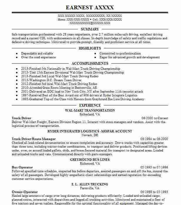 Best Truck Driver Resume Example | LiveCareer