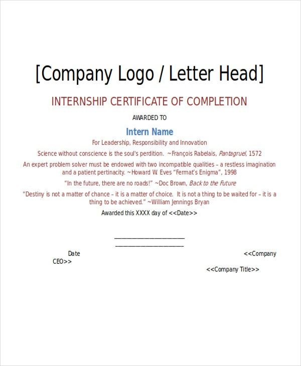 Internship Certificate Template - 7+ Free Word, PDF Document ...
