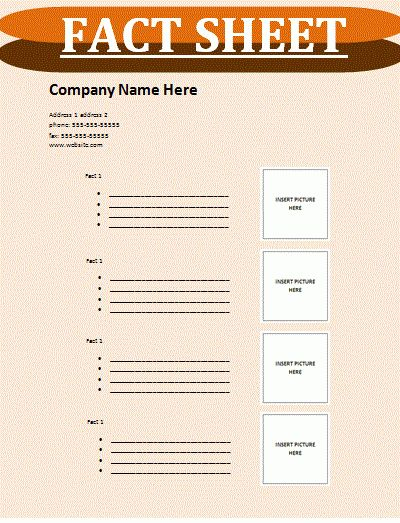 Fact Sheet Template | Free Sheet Templates