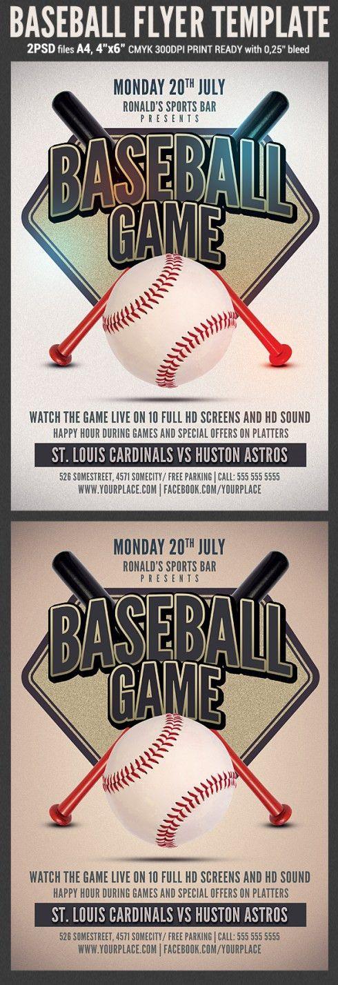 Dribbble / FlyerBaseball Flyer. Baseball Free Psd Flyer Template ...