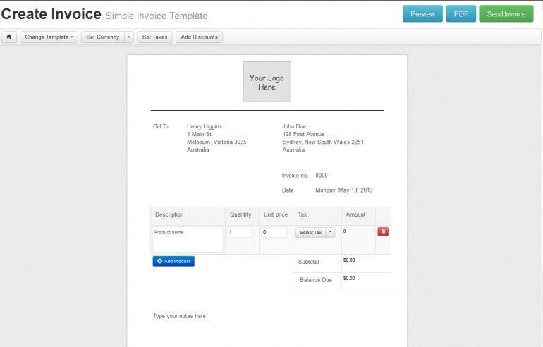 Simple Online Invoice Free | Design Invoice Template