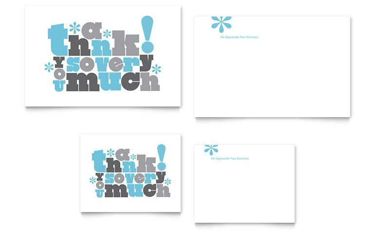 Thank You Very Much Note Card Template Design | Design - Note ...