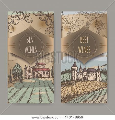 Set of two vintage wine label templates with vineyard and castle ...