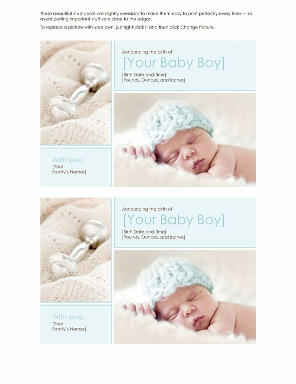Birth announcement (boy) - Office Templates