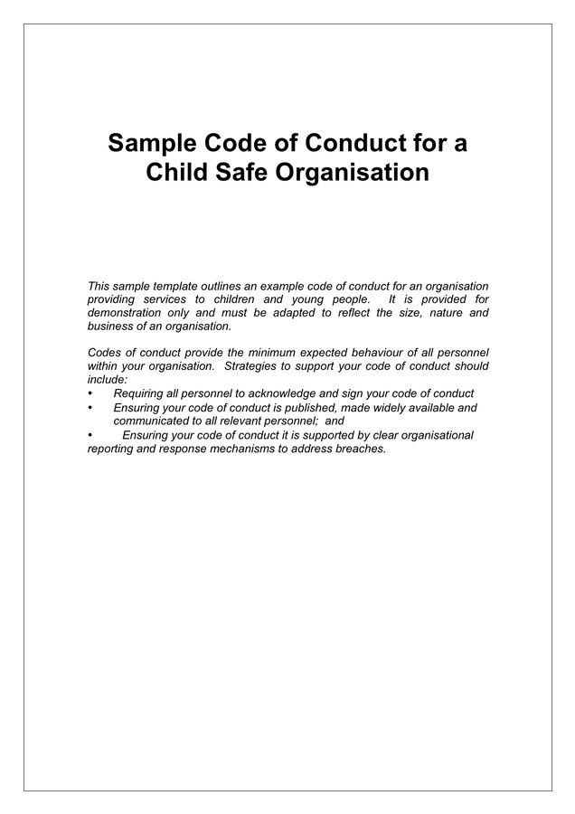 Code of Conduct Example - download free documents for PDF, Word ...