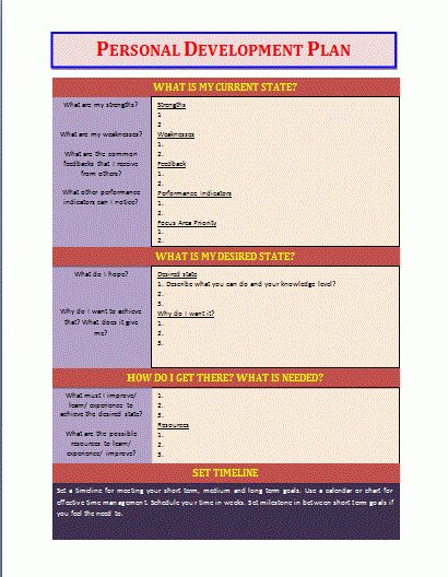 Personal Development Plan Template | Free Business Templates