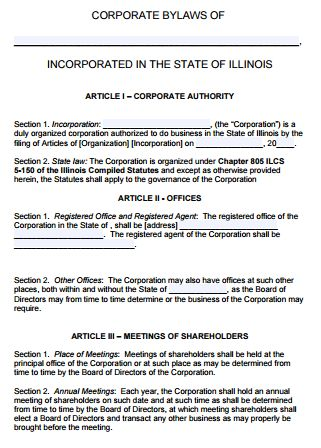 Free Illinois Corporate Bylaws Template | PDF | Word |