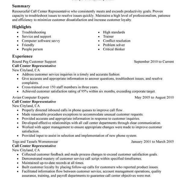 Resume Templates Customer Service. Resume Template For Customer ...