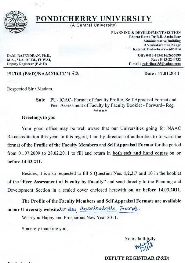 IQAC - Format of Faculty Profile and Self Appraisal Format ...