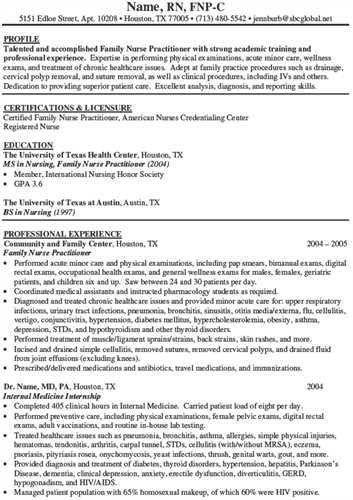 Nurse Practitioner Resume Template. Graduate Nurse Practitioner Cv ...