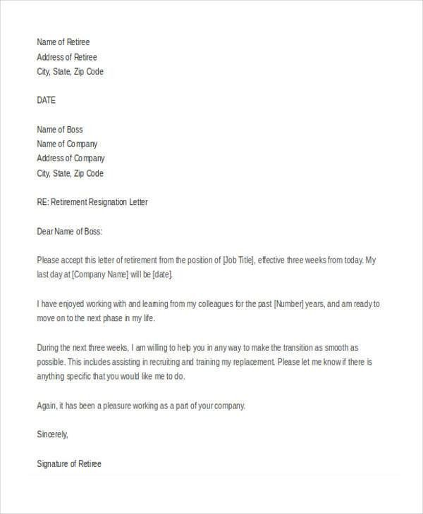7+ Retirement Resignation Letter Template - Free Word, PDF Format ...