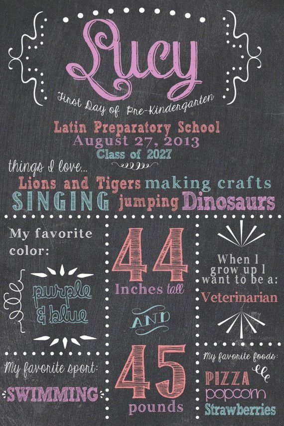 First Day of School Chalkboard Sign / Whimsical / Printable / Back ...