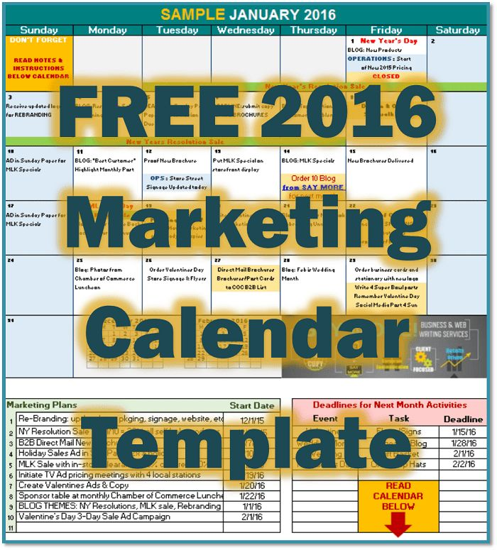 FREE 2016 Marketing Calendar Template • SAY MORE! Services