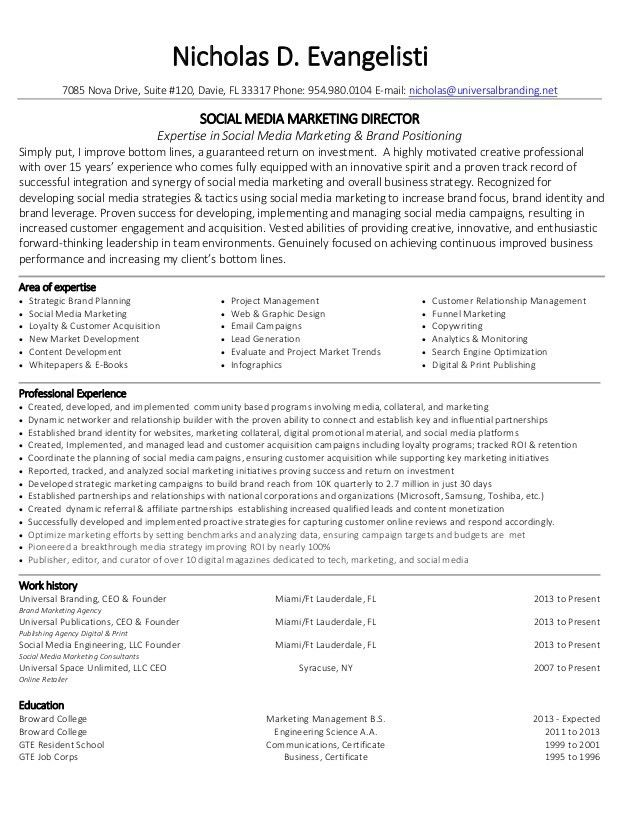 Nicholas Evangelisti Social Media Marketing Director Resume