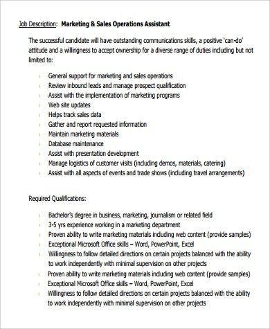 Sample Sales Assistant Job Description - 9+ Examples in PDF, Word
