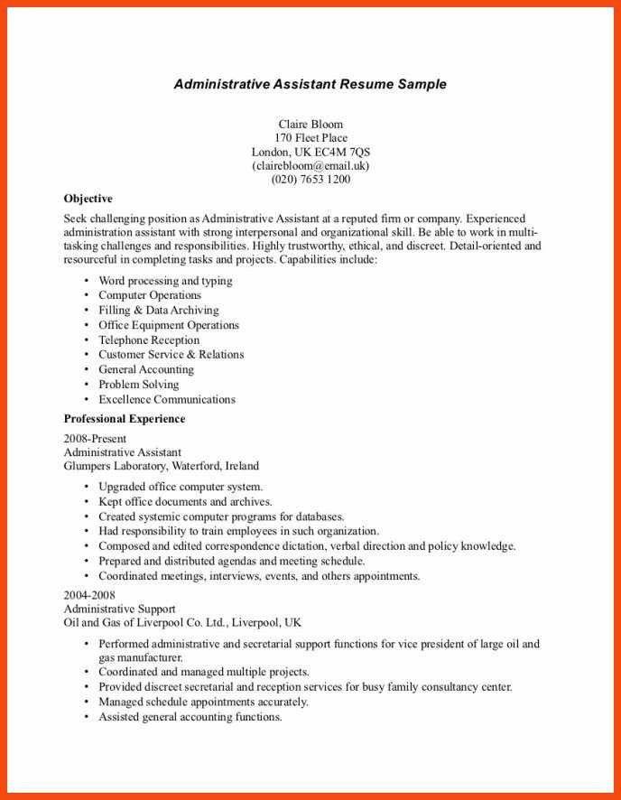 resume format for office assistant | program format