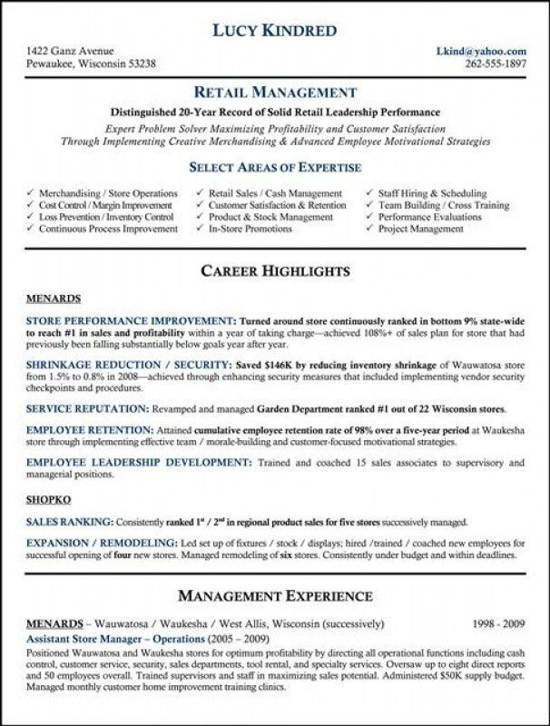 Retail Management Resume Samples. wonderful retail management ...