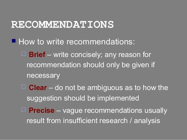Report Writing - Conclusions & Recommendations sections