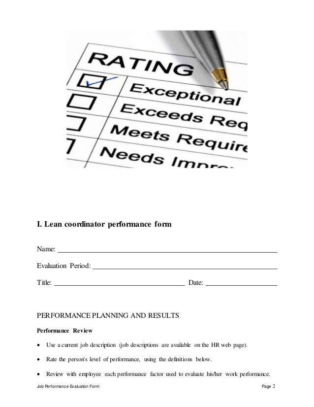 Lean coordinator performance appraisal