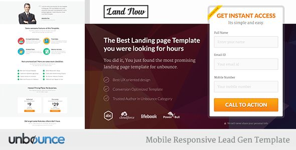 Unbounce Responsive Landing Page Template - Agents by surjithctly ...