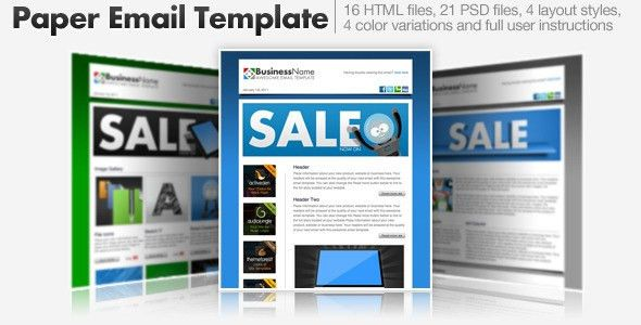 Paper Email Templates - 16 HTML Email Templates by cazoobi ...