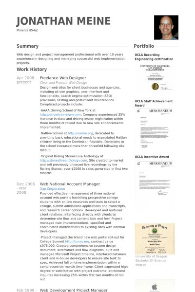 Freelance Web Designer Resume samples - VisualCV resume samples ...