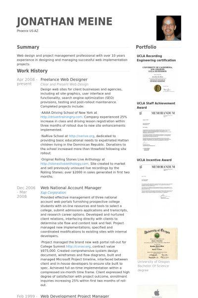 sample resume for web designer web designer cv sample example job
