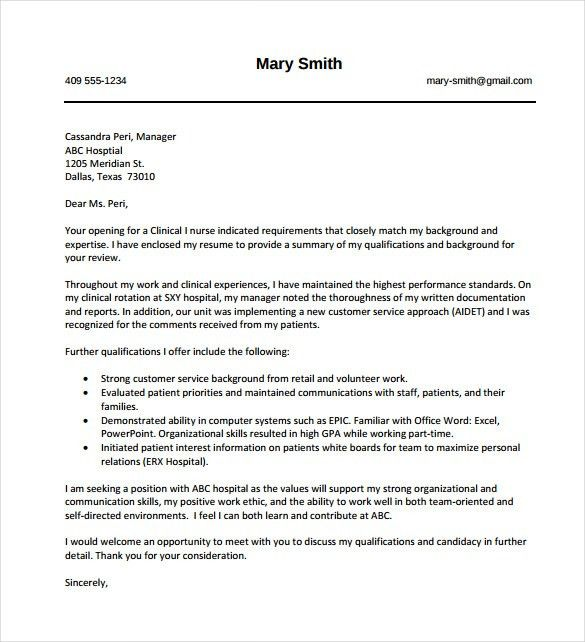 9+ Nursing Cover Letter Templates – Free Sample,Example, Format ...