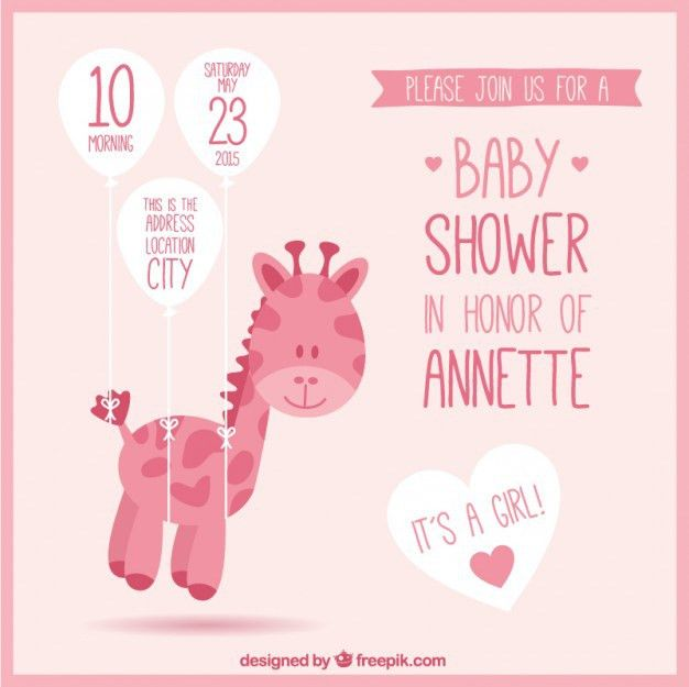 Pink baby shower invitation with a giraffe Vector | Free Download