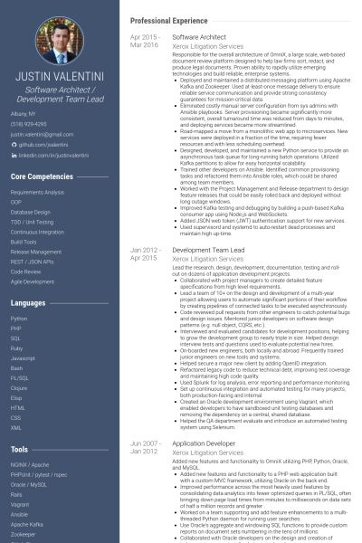 Software Architect Resume samples - VisualCV resume samples database