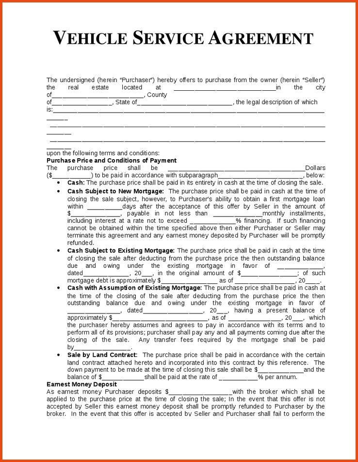 Services Agreement Template.vehicle Service Agreement Template 1 ...