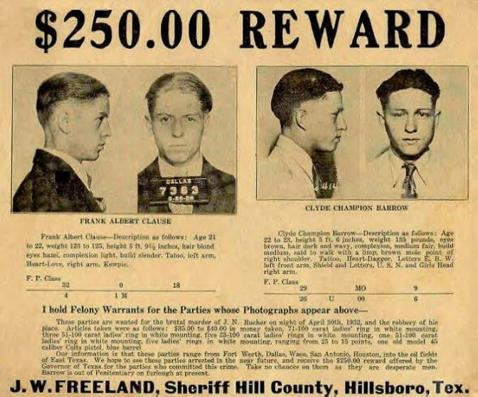 Bonnie And Clyde Wanted Poster | THE PUBLICS ENEMY: The Life ...