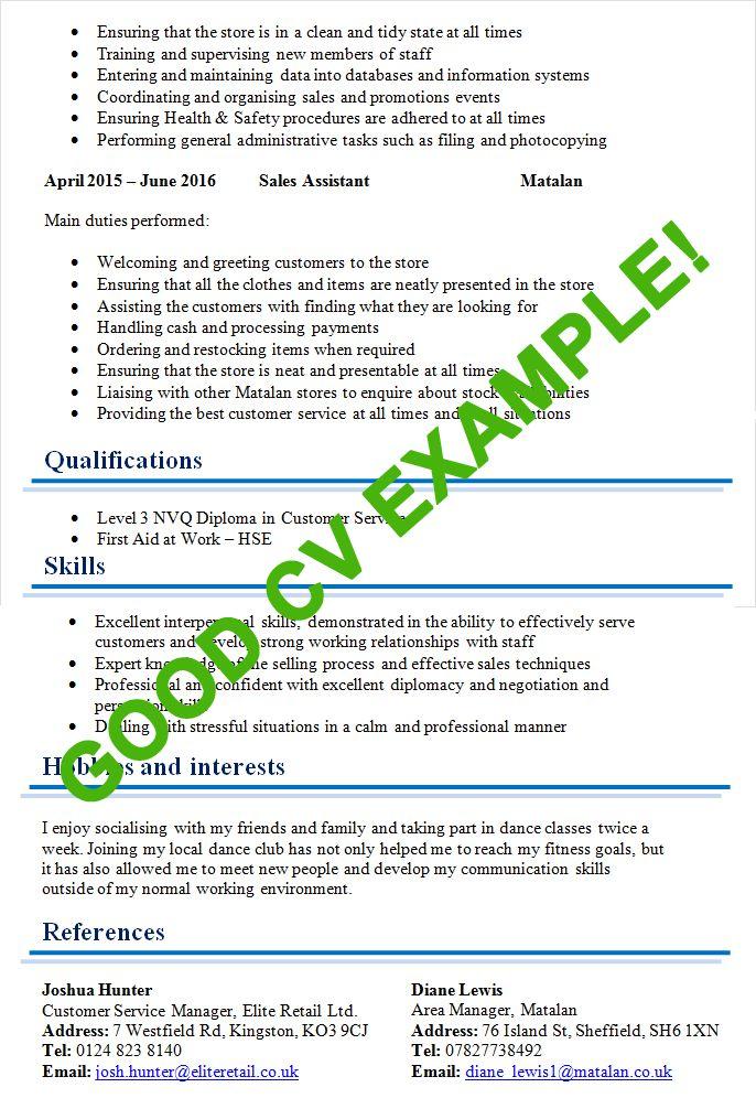 Good CV Examples & Templates for 100+ jobs - CV Plaza