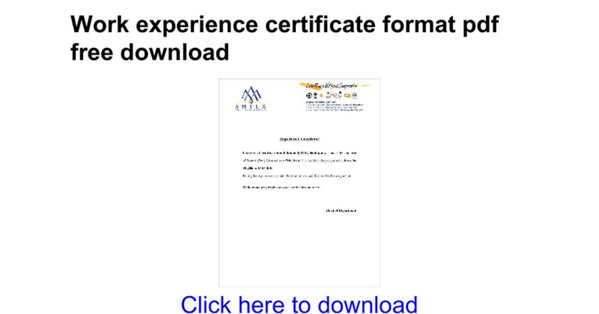 Experience certificate formats work experience certificate work experience certificate format pdf free download google docs yadclub Gallery