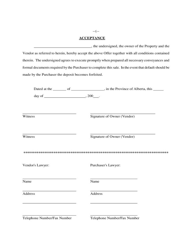 Real Estate Purchase Contract - Alberta Free Download