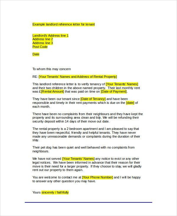 Sample Tenant Recommendation Letter - 7+ Examples in Word, PDF
