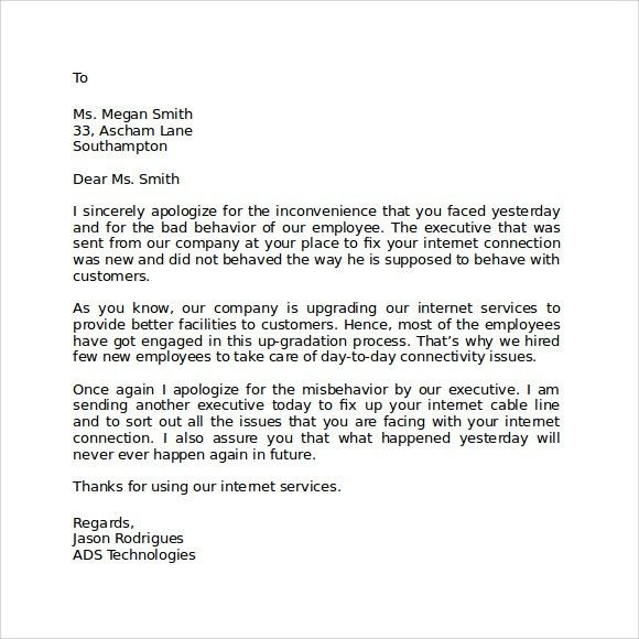 Apology Letter Example. Sample Student Apology Letter Template ...