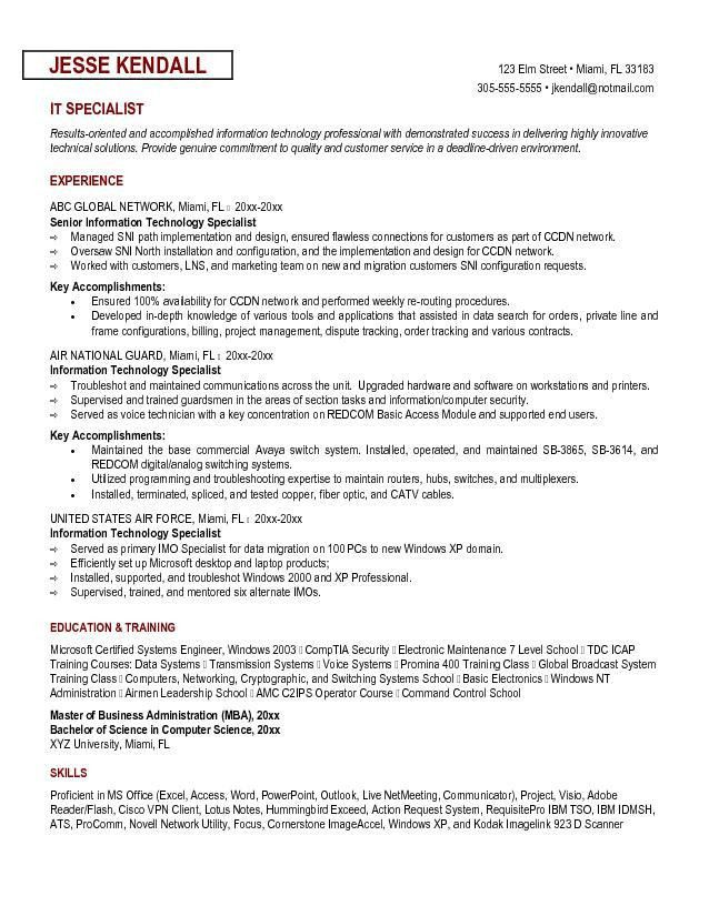 Example Information Technology Specialist Resume Sample