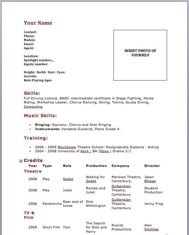acting resume samples job resume sample acting resume no. actors ...
