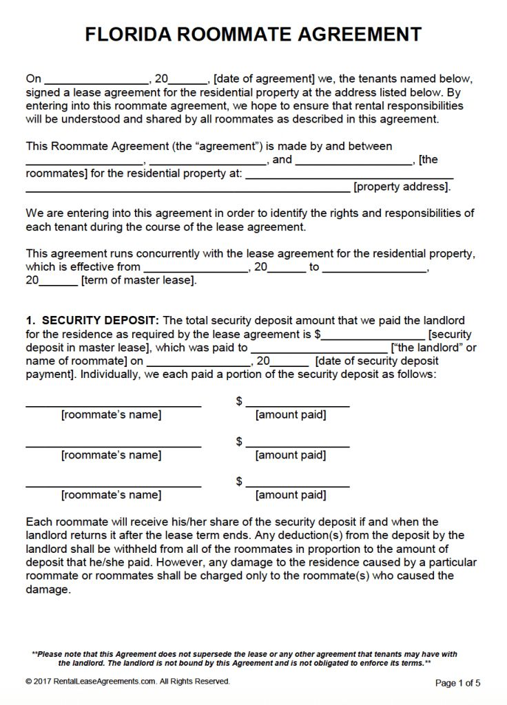 Free Florida Roommate Agreement Template – PDF – Word