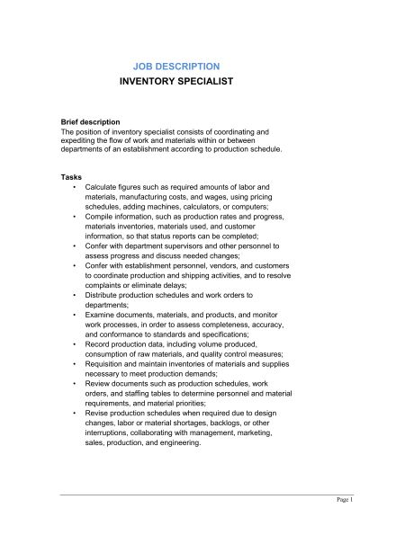 Inventory Specialist Job Description - Template & Sample Form ...